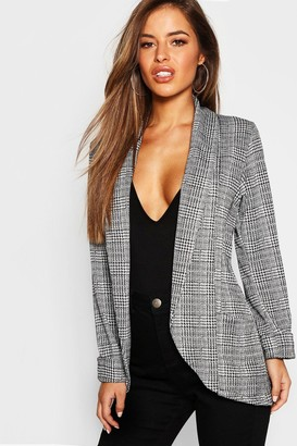 boohoo Petite Check Pocket Detail Blazer