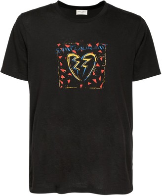 Saint Laurent Logo Heart Print Cotton T-Shirt