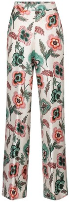 Salvatore Ferragamo Floral silk twill wide-leg pants