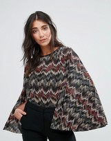 Girls On Film Zig Zag Print Top With Flare Sleeves
