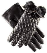 Black Rabbit Fur Lined Italian Quilted Leather Gloves