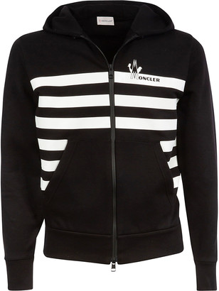 Moncler Striped Detail Front Pocket Zipped Hoodie