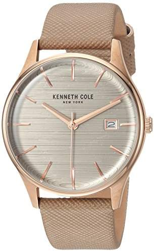 Kenneth Cole New York Women's 'Classic' Quartz Stainless Steel and Leather Dress Watch, Color:Brown (Model: KC15109003)