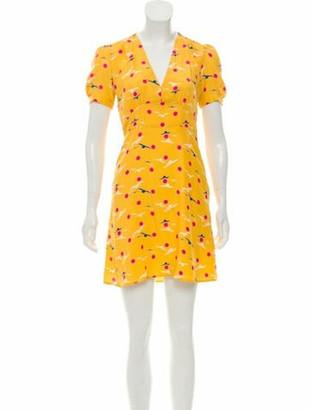 HVN Silk Printed Mini Dress Yellow