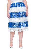 ELOQUII Plus Size Striped Floral Lace Skirt