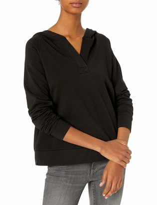 Daily Ritual Amazon Brand Women's Terry Cotton and Modal Hooded Henley Pullover