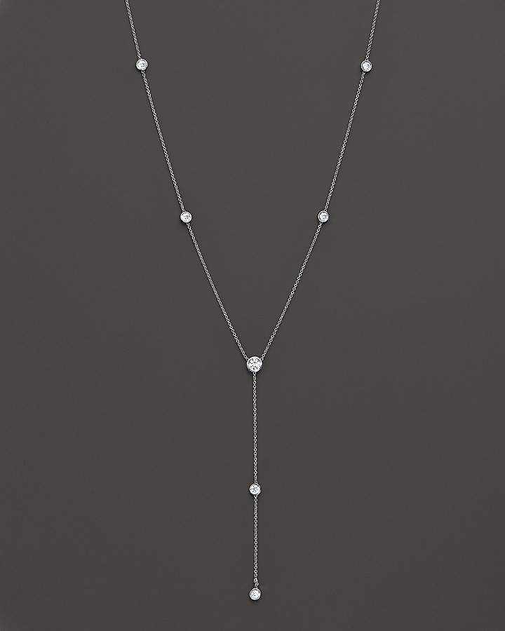 Bloomingdale's Diamond Station Lariat Necklace in 14K White Gold, 16""