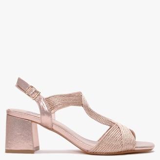 Bibi Lou Bollington Gold Woven Block Heel Sandals