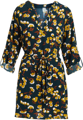 Modern Touch Women's Casual Dresses - Navy & Tan Floral Tab-Sleeve Tie-Waist V-Neck Dress - Women