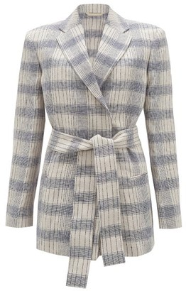 Acne Studios Checked Belted Blazer - Ivory Multi