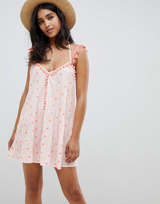 Asos Design DESIGN pom pom tassel embroidered beach dress in neon coral-White