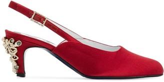 Koché Embellished Heel Slingback Pumps