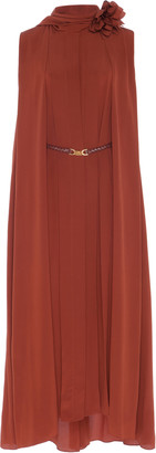 Victoria Beckham Scarf-Detail Silk-Chiffon Midi Dress