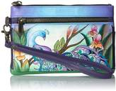 Anuschka Anna By Anna by Hand Painted Leather Wristlet Organizer Wallet | Midnight Peacock
