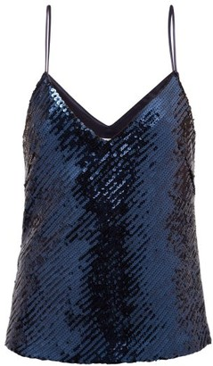Galvan Sequinned V-neck Camisole - Blue