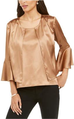 28th & Park Satin Bell-Sleeve Jacket & Top