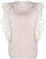Fabiana Filippi lace detail cap sleeve T-shirt