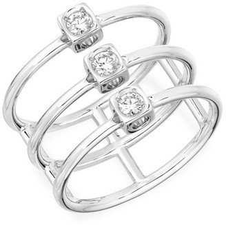 Dinh Van Le Cube 18K White Gold & Diamond Stacked Ring