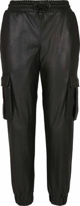 Urban Classics Women's Ladies Faux Leather Cargo Pants Trouser