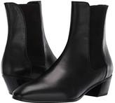 Stuart Weitzman Cleora Leather Bootie (Black Smooth Calf/Sueded Elastic) Women's Boots