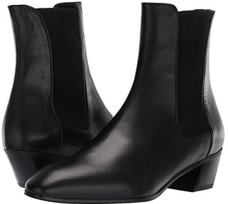 Stuart Weitzman Cleora Leather Bootie (Black Smooth Calf/Sueded Elastic) Women's Boots