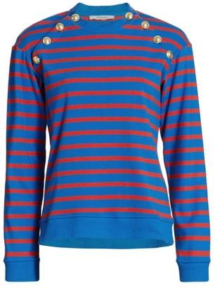 Derek Lam 10 Crosby Lucie Button-Trimmed Stripe Cotton Sweater