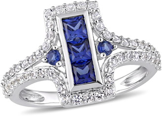 Delmar Sterling Silver Created Blue & White Sapphire Vintage Ring