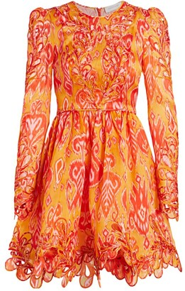 Zimmermann Brightside Rouleaux Puff-Sleeve Mini Dress