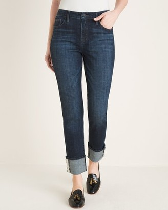 So Slimming Tweed-Hem Girlfriend Ankle Jeans