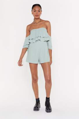 Nasty Gal Womens Frill Loving You Crinkle Playsuit - beige - 8