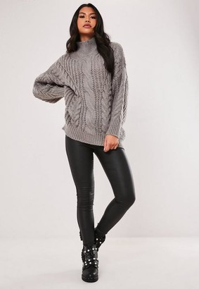 Missguided Grey High Neck Cable Knit Jumper