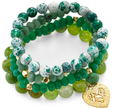 Good Charma Heart & Jade Multi Gemstone Charm Bracelets (Set of 4)
