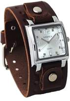Nemesis #BBB516S Men's Dark Brown Wide Leather Cuff Band Analog Dial Watch