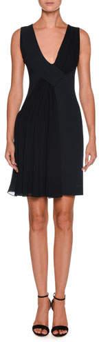 Giorgio Armani V-Neck Sleeveless Crepe Short Dress w/ Chiffon Ruching