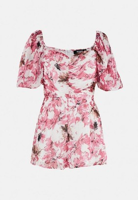 Missguided Floral Print Chiffon Puff Sleeve Playsuit