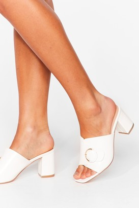 Nasty Gal Womens New Thing Round Here Faux Leather Block Heels - White - 3