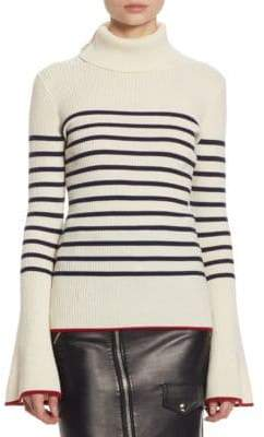 Each X Other Stripe Turtleneck Cotton Bell-Sleeve Sweater