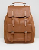 Asos Leather Backpack In Tan With Front Pockets