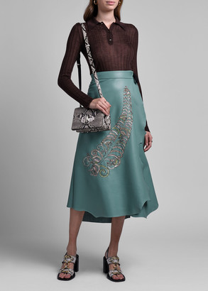 Prada Beaded Feather Embroidered Leather Skirt