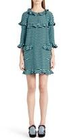 Fendi Women's 'Hypnotic' Ruffle Trim Stripe Silk Dress