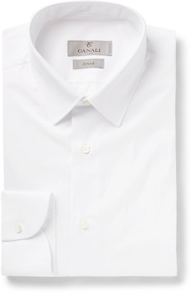 Canali Navy Slim-Fit Stretch Cotton-Blend Poplin Shirt - Men