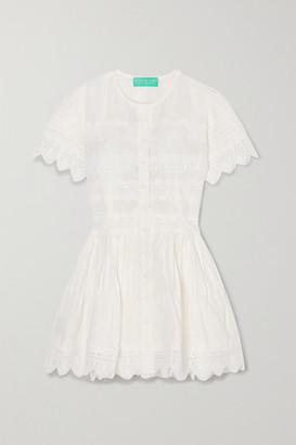 Waimari Violetta Guipure Lace-trimmed Linen Mini Dress - White