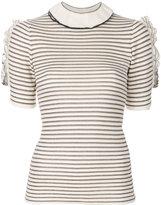 Sonia Rykiel ruffle striped short sleeve sweater - women - Cotton/Polyester/Viscose - XS