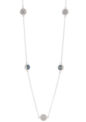 Anna Beck Sterling Silver Long Strand Blue Pearl Necklace