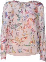 RED Valentino Hummingbirds Print Silk Blouse
