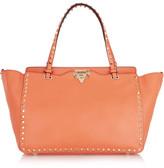 Valentino The Rockstud Medium Leather Tote - Orange