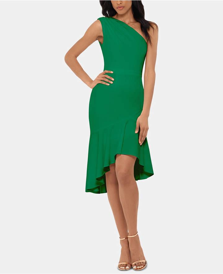Xscape Evenings One-Shoulder Flounce-Hem Dress