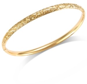 Italian Gold Crystal-Cut Hinge Bangle Bracelet in 14k Gold