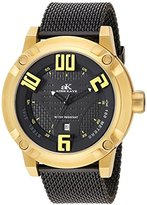 Adee Kaye Men's Quartz Stainless Steel Dress Watch, Color:Black (Model: AK07281-MG/IPB-MESH)