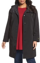 Gallery Plus Size Women's Embossed Collar Raincoat With Detachable Hood